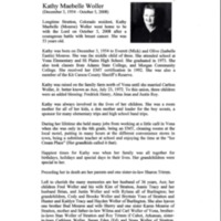 Obituary for Kathy Woller